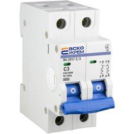 Автоматический выключатель Аско УкрЕМ 2p 3 А (тип С) ВА-2017
