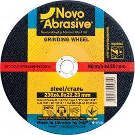 Диск шлифовальный по металлу NOVOABRASIVE T1 230*6,0*22,23мм A 24 R BF
