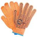 Перчатки трикотажные с ПВХ точкой кл.7 оранжевые Intertool SP-0135