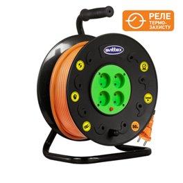 Удлинитель на катушке SVITTEX 50м серия ПРОФИ 16А 220В с кабелем  2*2.5мм с термозащитой SV-021