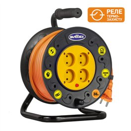 Удлинитель на катушке SVITTEX 30м серия СТАНДАРТ (без з/к) 16А 220В с кабелем 2х1,5 с термозащитой SV-005