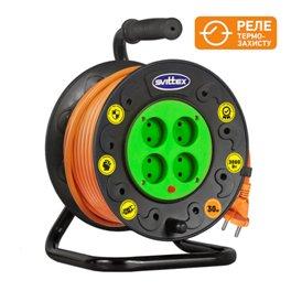 Удлинитель на катушке SVITTEX 30м серия ПРОФИ 16А 220В с кабелем  2*2.5мм с термозащитой SV-019
