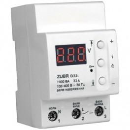 Реле защита от перенапряжения ZUBR D32t 32 А (max 40 А), 7 000 ВА с термозащитой